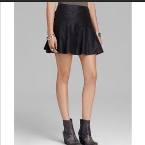 Free People Faux Leather Skater Skirt